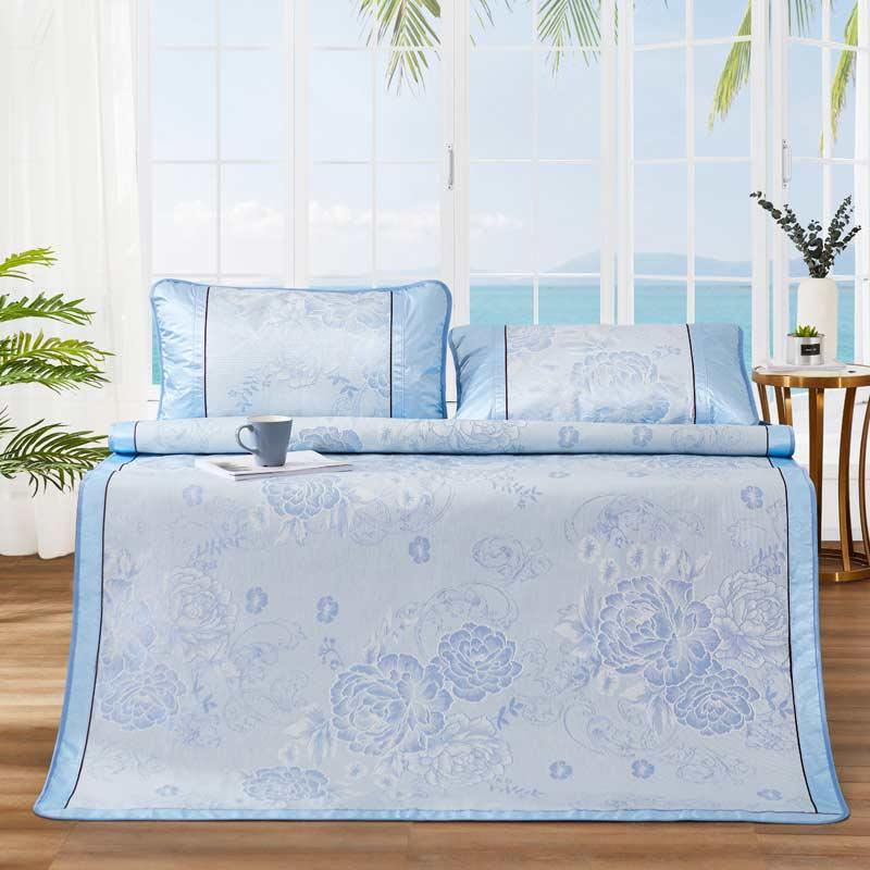 博洋家纺(BEYOND)席子 夏季空调双人加大可折叠凉席1.8米床 花晨月夕冰丝席三件套(蓝)180cm