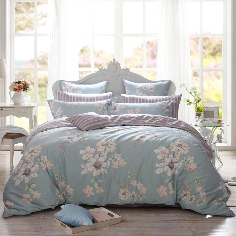 多喜爱(Dohia)床品套件 全棉印花简约风四件套 床单款 淡香伊人 双人 1.5米床 203*229cm