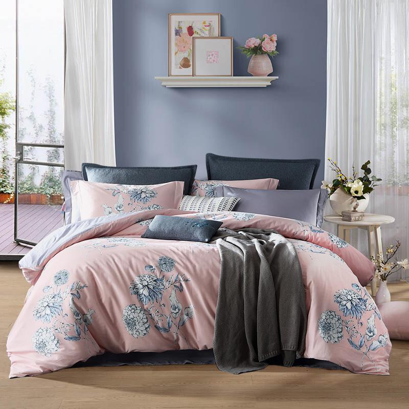 夢潔家紡出品 MAISON 床上用品 素雅純棉印花四件套 全棉床單被罩 陌顏 1.8米床 248*248cm
