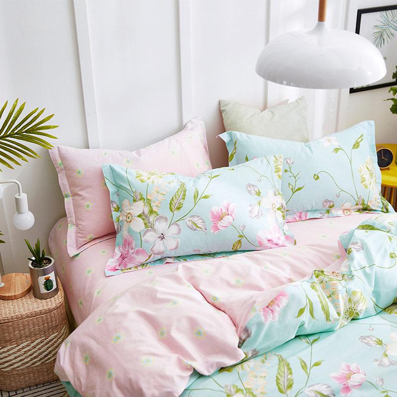 红瑞家纺 床上用品四件套纯棉 被套全棉被罩床单双人床品套件1.5/1.8米床 200*230cm 月下琉璃