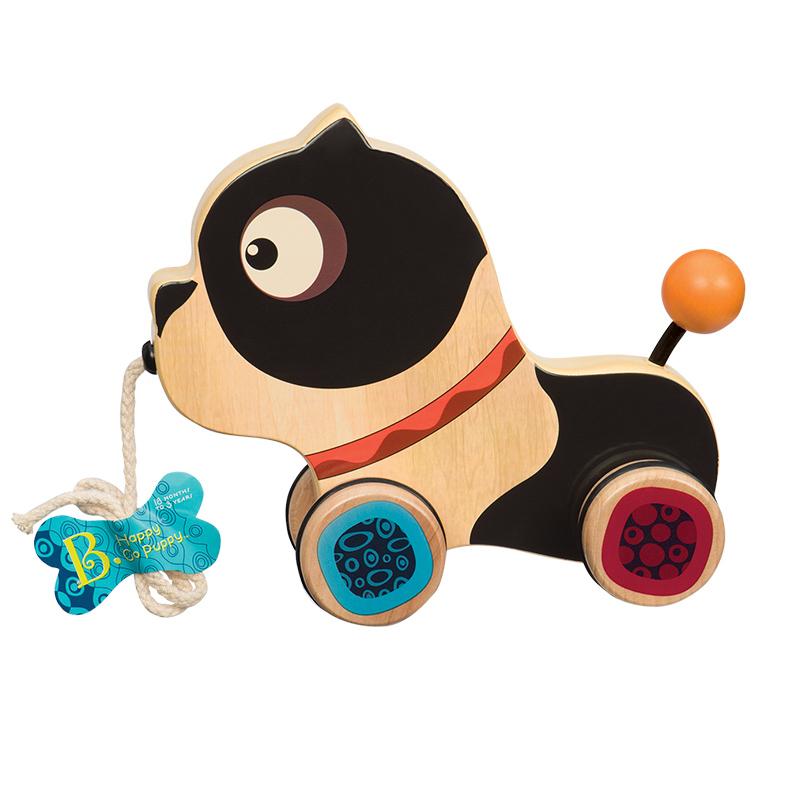 B.Toys 比乐 木制小狗拖拉玩具 手拉学步爬行玩具 18个月+ BX1392Z