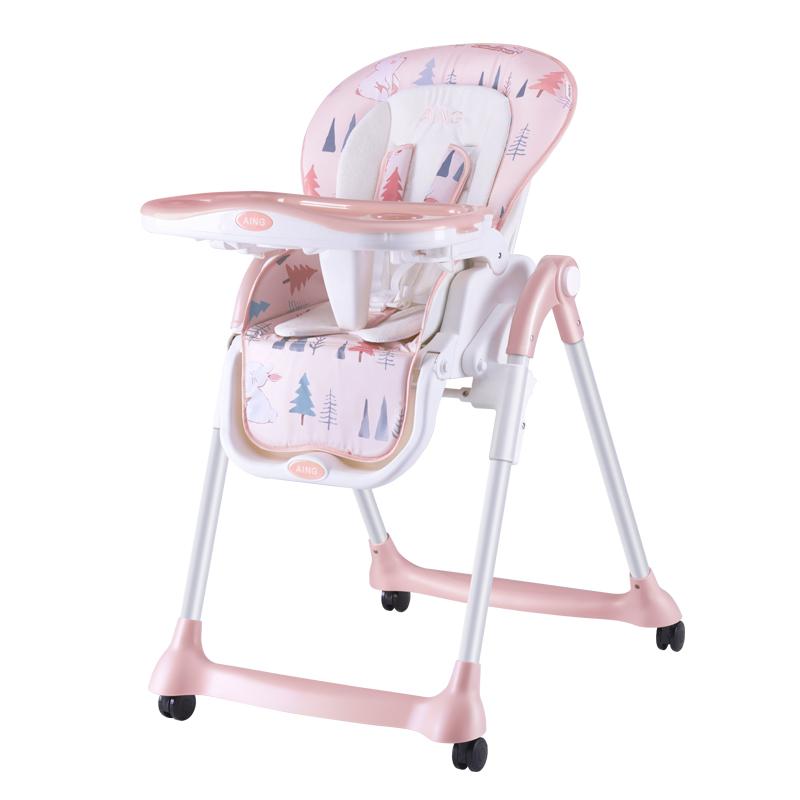 爱音(Aing)儿童餐椅 欧式多功能婴儿餐椅四合一宝宝餐椅可折叠便携JC002X童话世界杏色