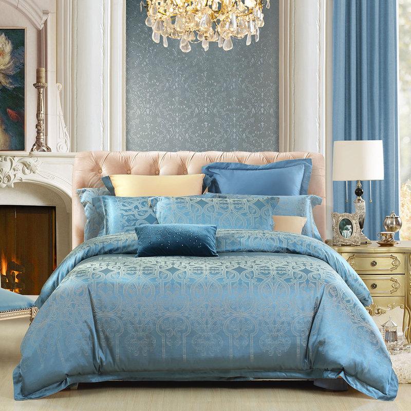 水星家纺 大提花四件套 英伦轻奢床单被罩被套床上用品套件 萨里伯爵 加大双人1.8米床
