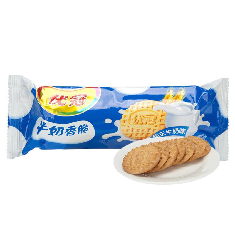 优冠 牛奶香脆单条装饼干休闲零食100g