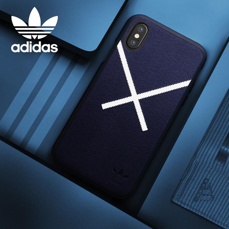 adidas(阿迪達斯)iPhoneX手機殼 仿鹿皮絨 柔軟手感 蘋果10男硅膠全包 女簡潔防滑防摔保護套 藍色