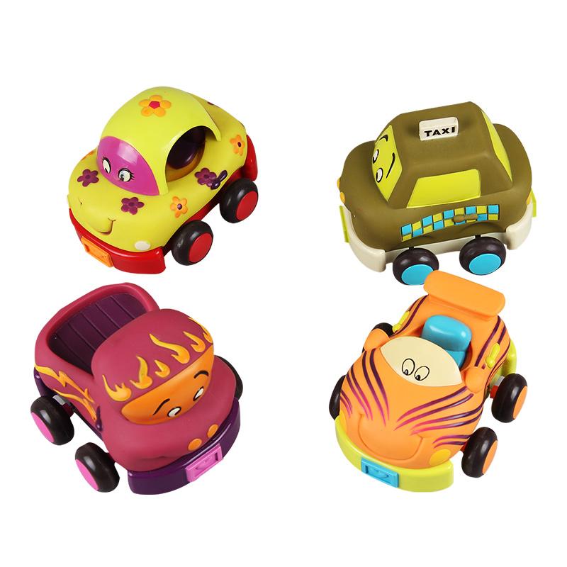 B.Toys 比樂 寶寶回力車 慣性硅膠 耐摔耐啃咬 早教小汽車 卡通車4個裝玩具 1歲+ BX1048Z