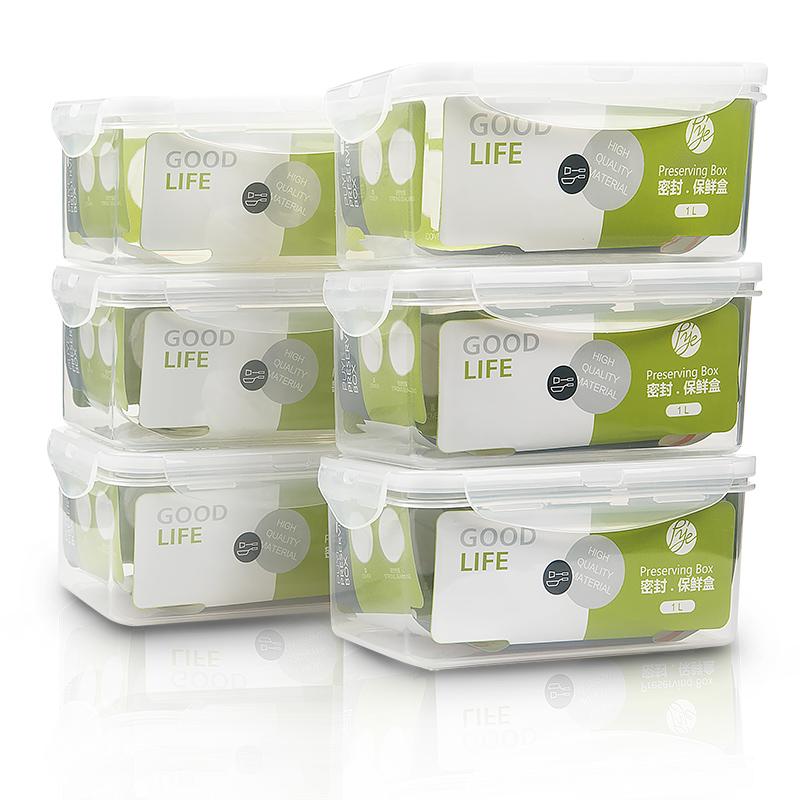 普业 塑料保鲜盒套装六件套(1000ml*6 长方形 冰箱收纳盒 微波炉便当饭盒)PY-1945