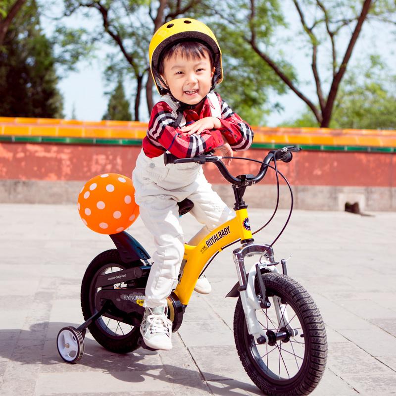 優貝(RoyalBaby)兒童自行車 單車男女小孩童車 避震型寶寶腳踏車山地車3歲-9歲 小飛熊 16寸 黃色