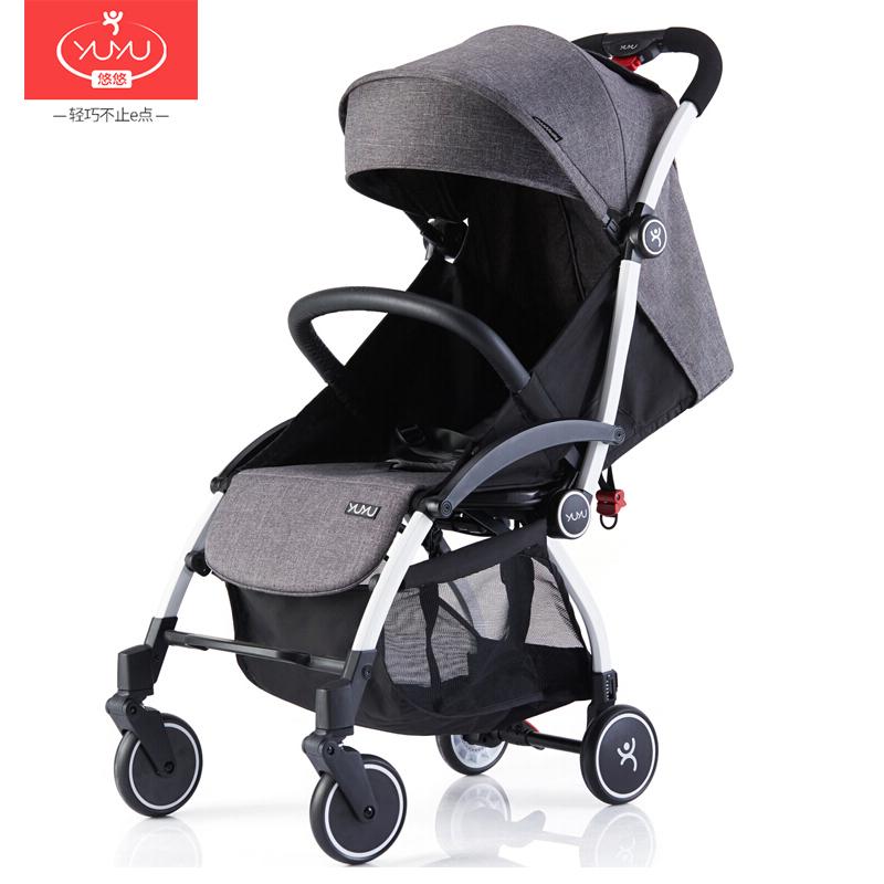 YUYU悠悠嬰兒推車第六代輕便折疊傘車可坐可躺嬰兒手推車時尚款陽離子灰色