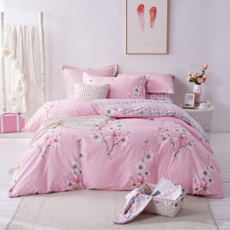 博洋家纺(BEYOND)纯棉被套床单被罩床品套件 高支全棉斜纹花卉四件套 盛夏光年 加大双人1.8米床