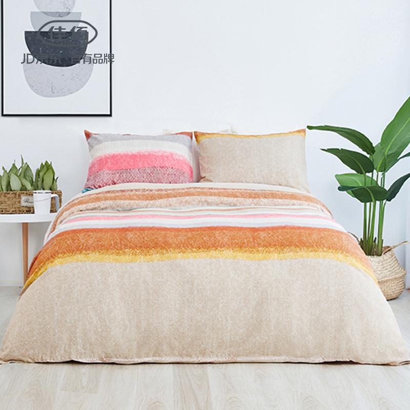 佳佰 四件套 床上用品 被套床单枕套 纯棉生态磨毛面料 冬季 冬用 时尚纬度 适用1.5米双人床(200*230)