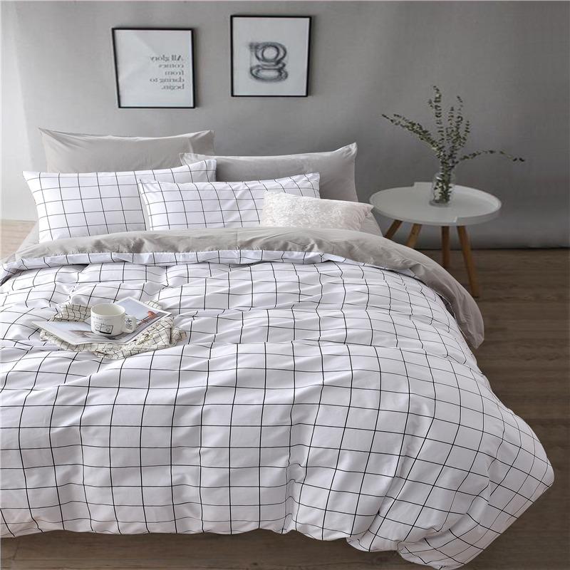 九洲鹿 套件家纺 全棉高支床上用品斜纹印花双人四件套 床单被套 微微格 1.5/1.8米床 200*230cm