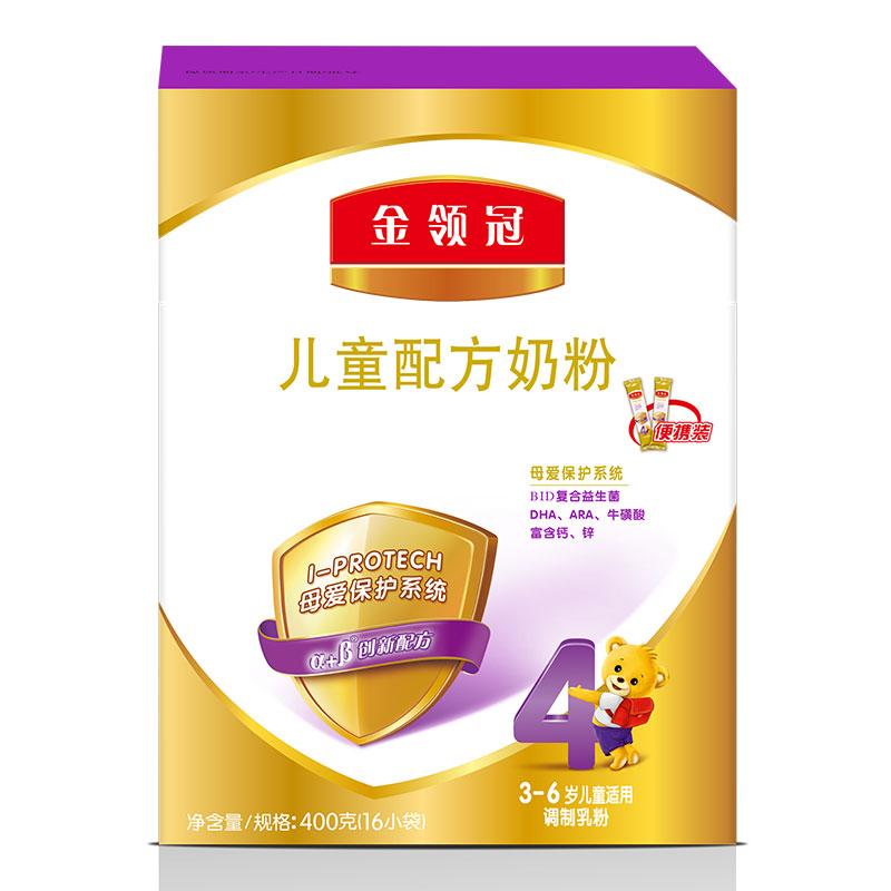 伊利奶粉 金領冠系列 兒童配方奶粉 4段400克(3-6歲兒童適用)新老包裝隨機發貨