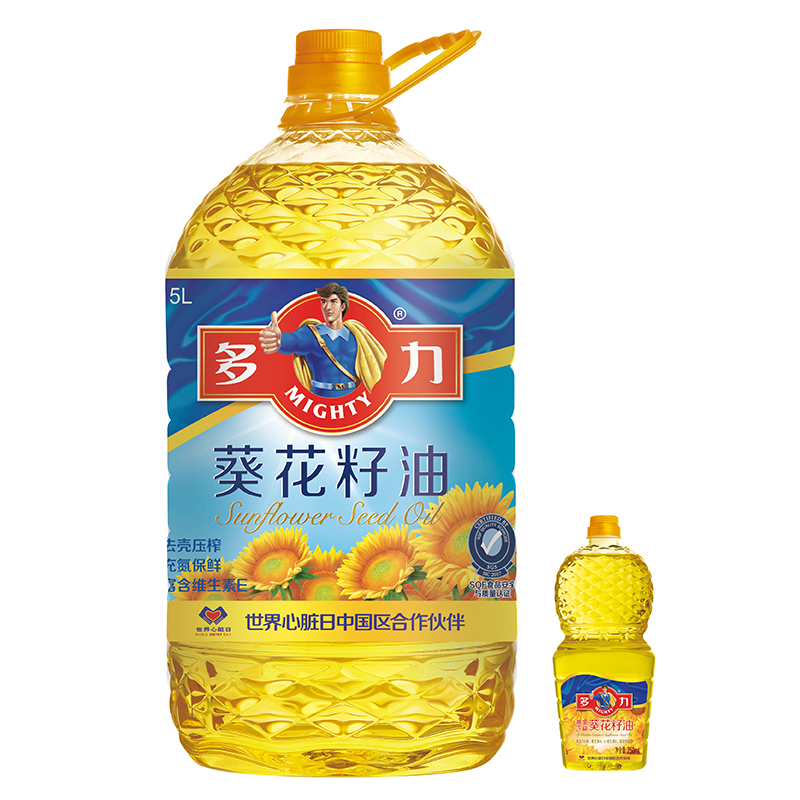 多力 食用油 葵花籽油5L(赠品及品项随机发?#29275;? style=