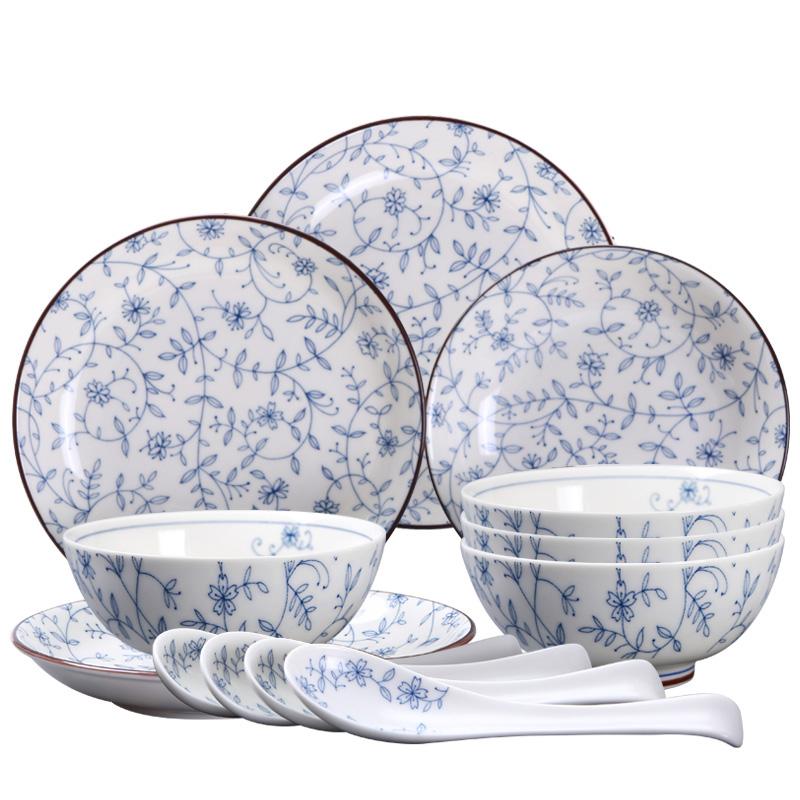 泥火匠 陶瓷 景德镇青花餐具套装 12头缠枝莲 釉下彩日式碗盘碟 微波炉适用