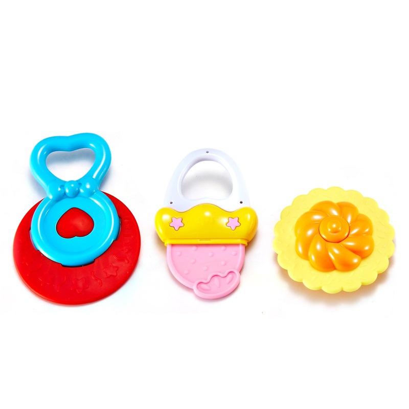 澳贝(AUBY) 益智玩具 放心煮摇铃3PCS 可高温消毒婴幼儿童摇铃牙胶礼盒3只装 463158DS