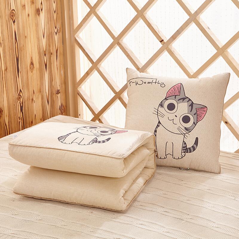 布拉塔 抱枕被 多功能抱枕兩用靠墊 午睡被子空調被子兩用被辦公室沙發汽車靠墊 萌萌貓 40*40cm