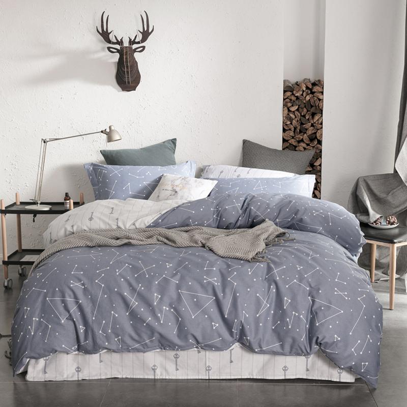 佳佰 全棉四件套 床上用品 被套床单枕套 纯棉简约星空 幻影 适用1.8米双人床(220*240)