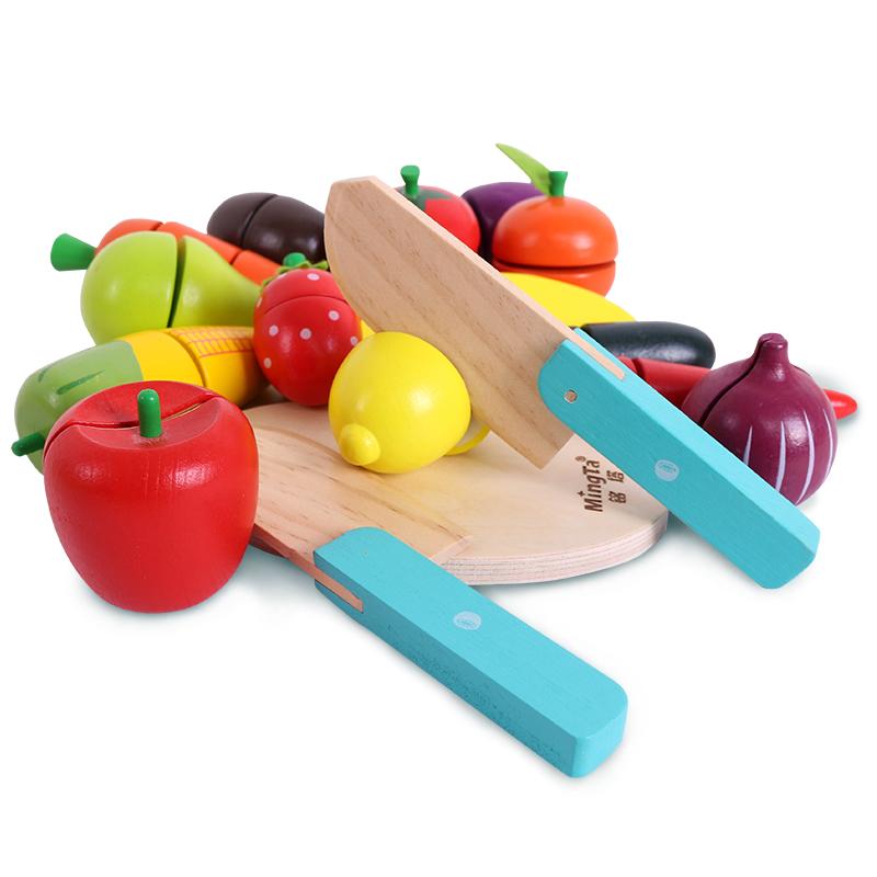 铭塔(MING TA)蔬菜水果?#26143;?#20048;玩具 积木木制婴幼儿宝宝儿童过家家益智 厨房男女孩
