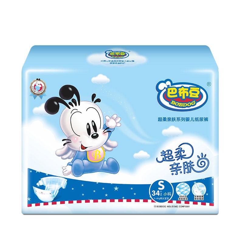 巴布豆(BOBDOG)超柔亲肤 婴儿纸尿裤尿不湿小号S204片箱装 【3-6Kg】