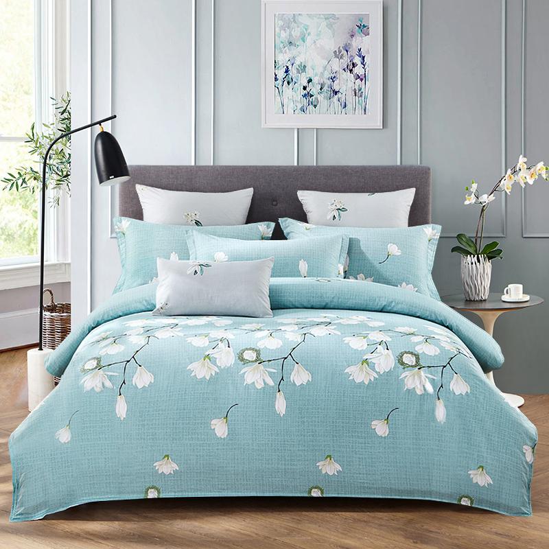 九洲鹿 套件家纺 全棉床上用品斜纹印花四件套 床单被套 1.5/1.8米床 220*240cm