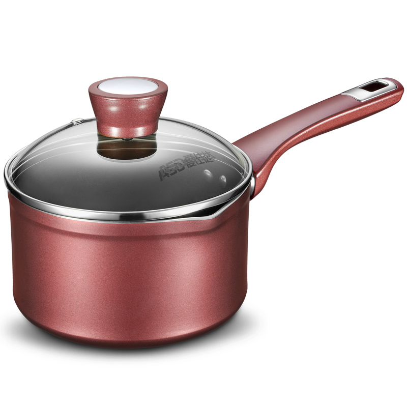 愛仕達 16CM新不粘多用復底奶鍋NL16A1WG-C 不粘鍋電磁爐燃氣通用 酒紅色