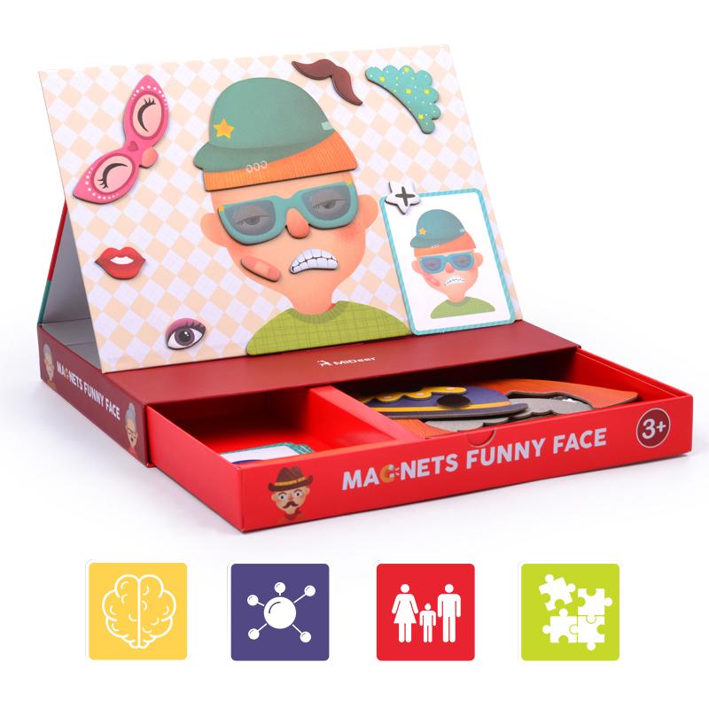 弥鹿(MiDeer)儿童磁力片拼图玩具 百变创意磁贴游戏盒-变脸磁贴