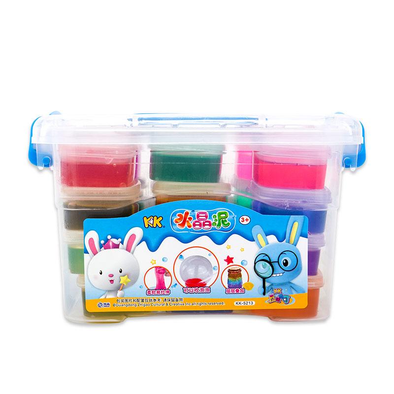 智高(ZHIGAO)KK魔法乐园 24色橡皮泥水晶彩泥手工粘土工具 黏土套装 太空果冻泥玩具带收纳箱  KK-5213