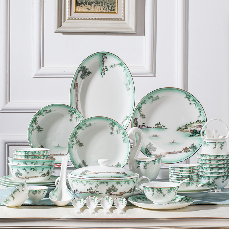 洛威 餐具套装碗盘家用欧式景德镇骨瓷碗碟碗盘碗筷 58头水乡之恋