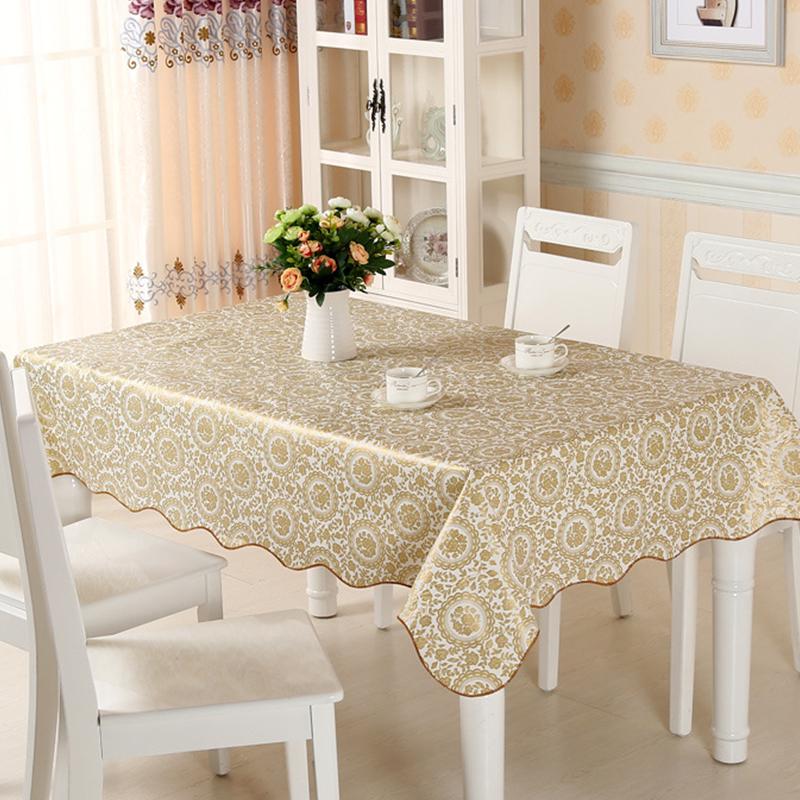 乐荔 桌布桌垫防水防油PVC餐桌布艺台布 防水防烫台布餐桌垫茶几垫胶垫 金玫瑰 137*183cm