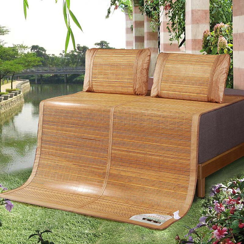 九洲鹿 涼席家紡 雙人加大碳化雙面水磨竹席 鏡面清涼席子竹涼席兩用折疊式 麥園花 (不含枕席) 1.8米床