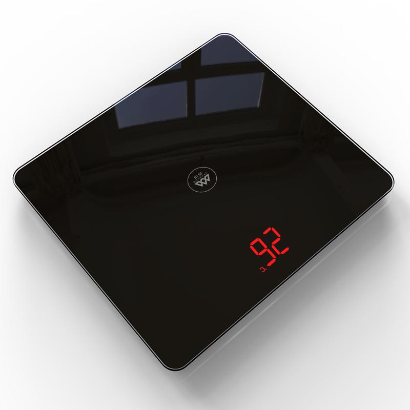 香山 电子秤 家用精准体重称重 可充电USB 四两起秤 测室温 EB839(星空黑)