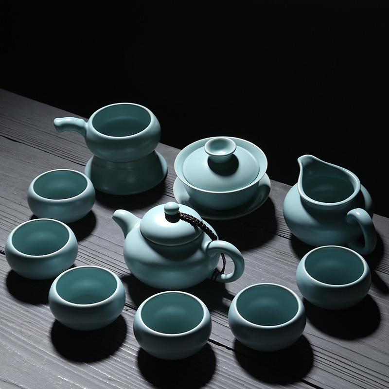 苏氏陶瓷汝窑茶具套装高品质美人壶加盖碗整套功夫茶具开片可养金线带礼盒装一壶一盖碗一茶海一茶漏组六杯