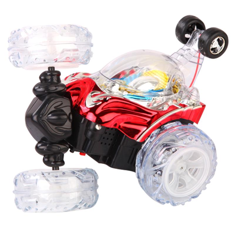 碟中碟 特技车 玩具遥控车可充电儿童玩具闪光音乐跳舞翻斗车9008A红色