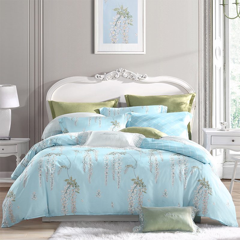 梦洁家纺出品 MAISON 床上用品 纯棉印花四件套 全棉床单被罩 清风解语 1.8米床 248*248cm