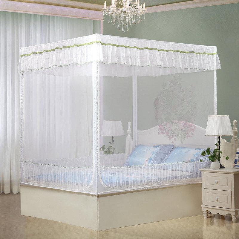 水星家纺(MERCURY) 琳琅花语坐床式三开门方顶蚊 三开门蚊帐 加大双人床 1.8米床