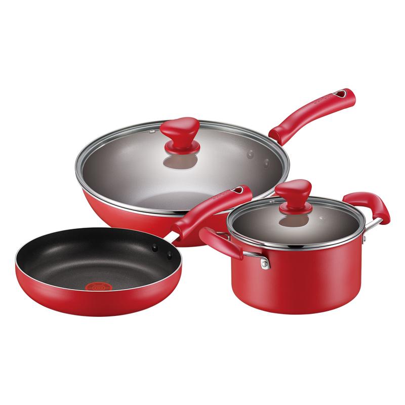 苏泊尔supor火红点不粘套装锅具炒锅煎锅汤锅组合三件套 TP1799E