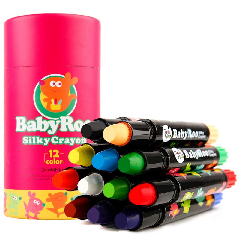 美樂(JoanMiro)兒童可水洗蠟筆 貝貝鼠絲滑旋轉蠟筆12色轉轉筆JM08091