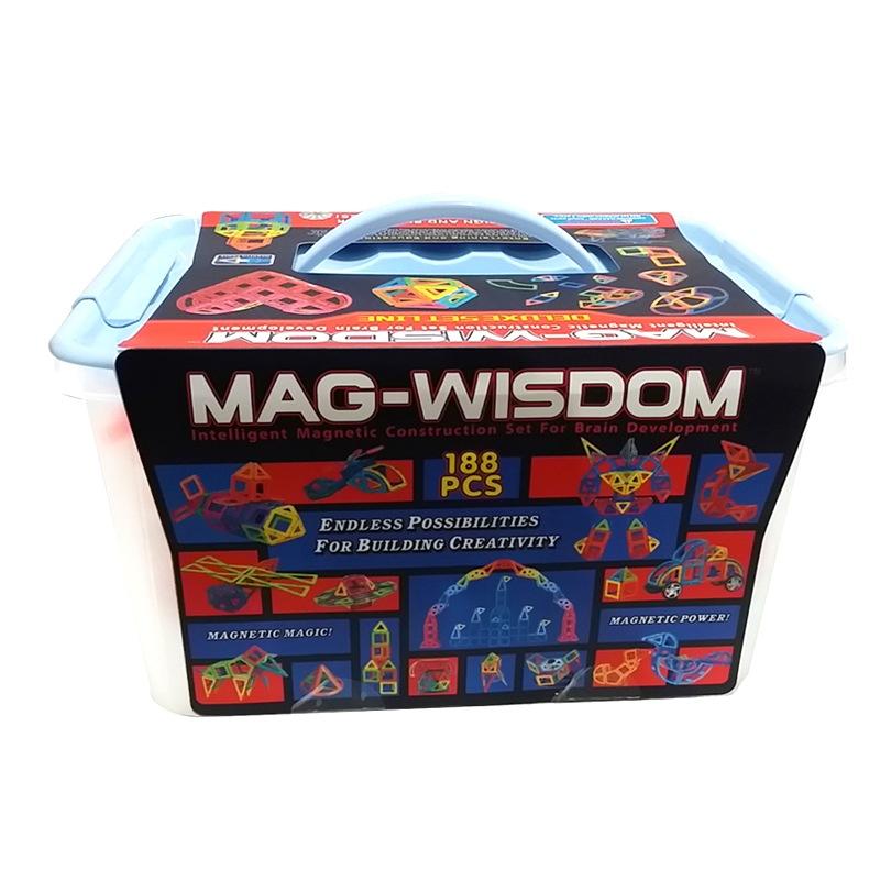 科博 KEBO 磁力片 百变提拉积木哒哒搭 磁力构建片 桶装188片