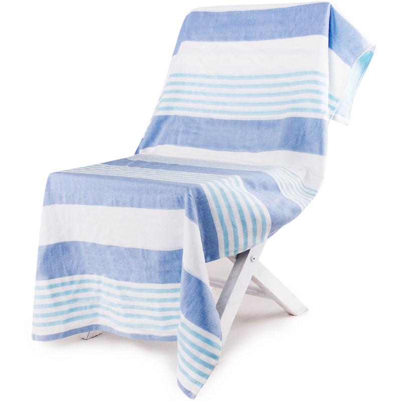 三利 纯棉纱布浴巾 A类标准 婴儿可用 柔软不掉毛裹身抹胸洗澡巾 70×140cm 青蓝条纹