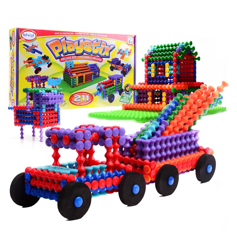 光華玩具竹節棍211片帶底座 百變立體拼插積木玩具百變立體拼插益智玩具兒童啟蒙積木創意拼裝玩具男女孩禮物