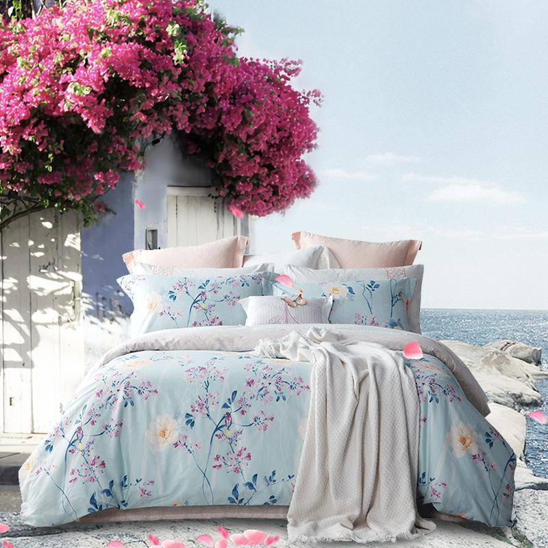 堂皇 床品家纺 纯棉斜纹印花四件套 舒适床单被罩 诗意秘境 花色 1.8米床 220*240cm