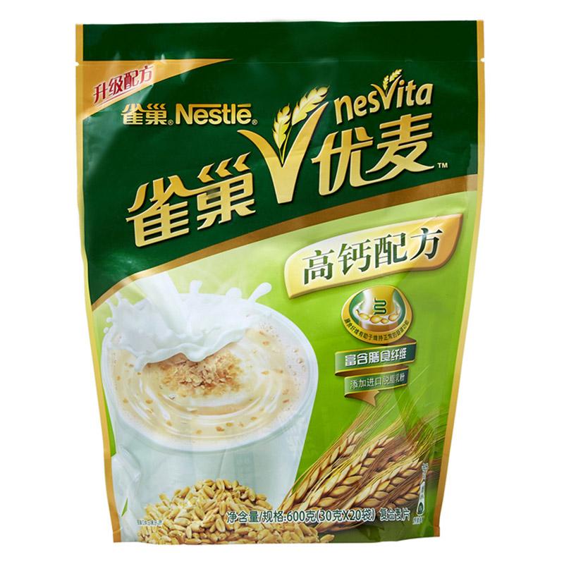 雀巢(Nestle)优麦高钙麦片600g 早餐冲饮 进口脱脂乳粉(新老包装交替发货)