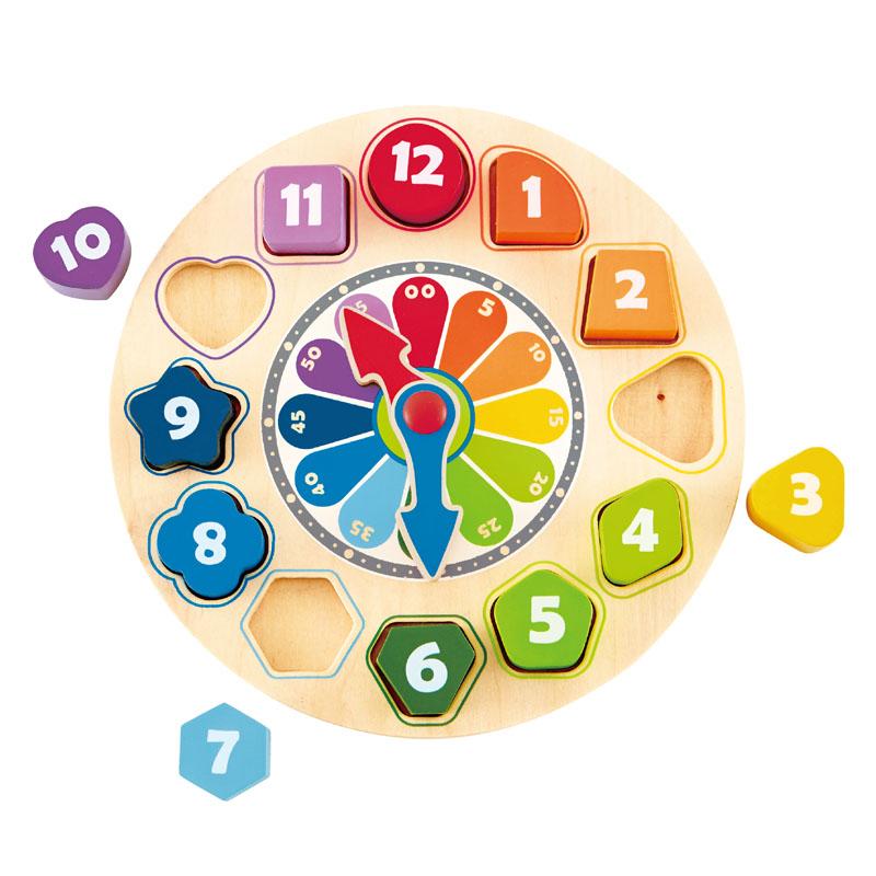 德国Hape 积木时钟E8043 木钟模型儿童玩具2岁以上 宝宝益智早教拆装
