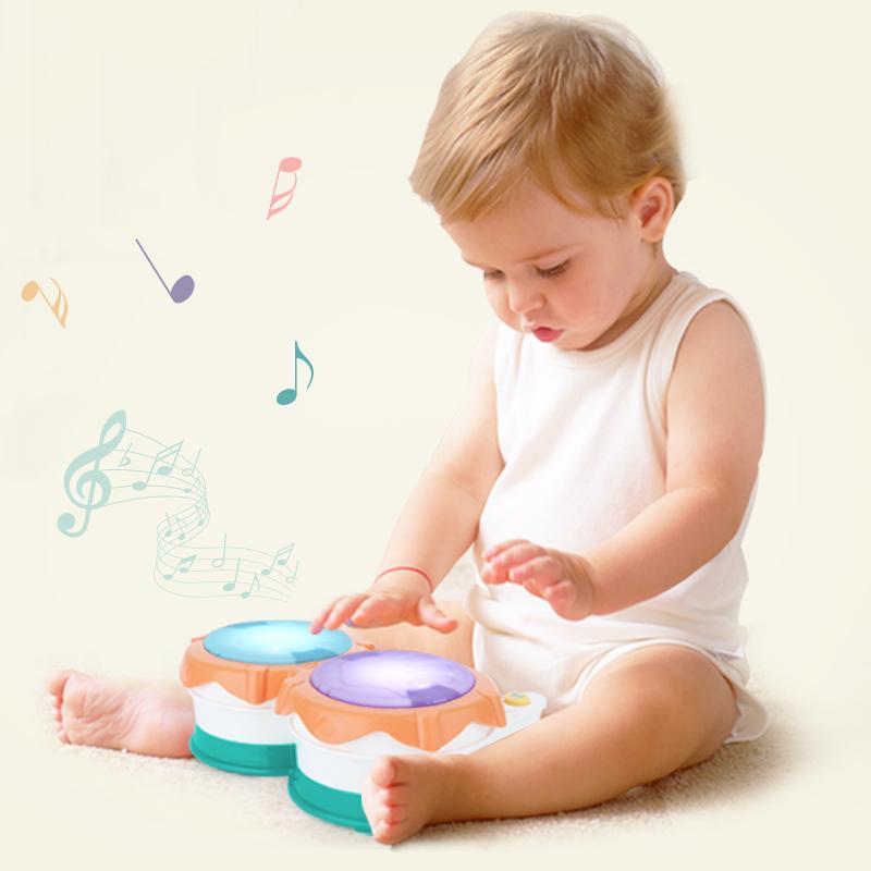 貝恩施(beiens)嬰兒玩具0-1歲寶寶手拍鼓 兒童音樂早教故事機拍拍鼓 HY2200冰綠色