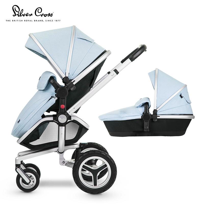 Silver Cross Surf高景观 可坐可躺 双向 大万向轮 大置物篮 婴儿推车 含睡篮 蓝色