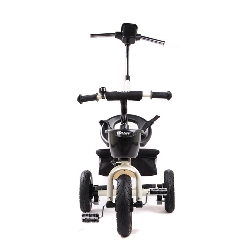 乐卡(Lecoco)儿童三轮车 三轮宝宝推车 多功能婴儿脚踏车 尼诺二代免充气钛空轮 钛金白
