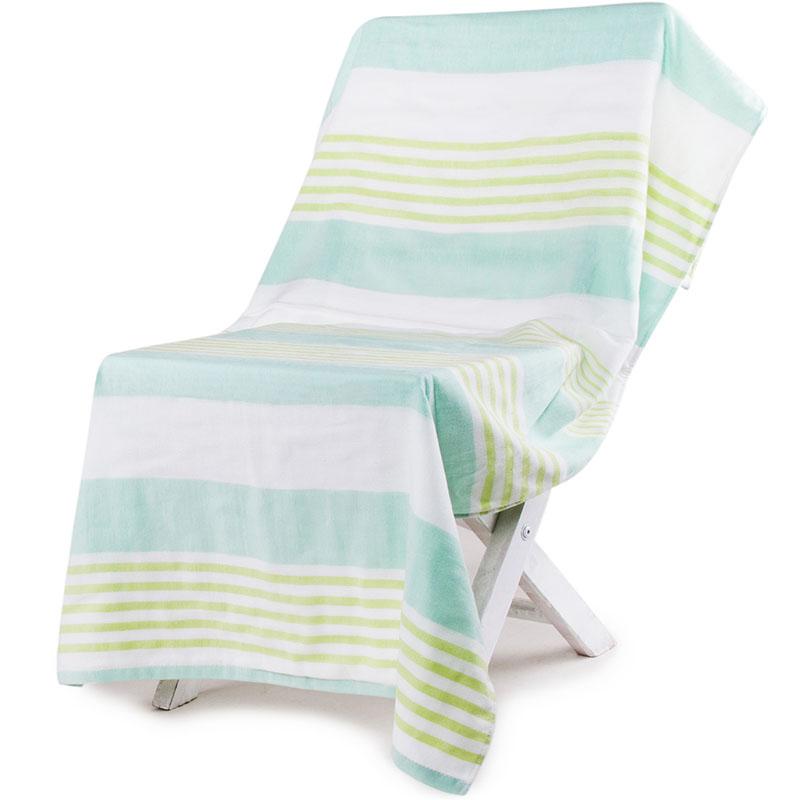 三利 纯棉纱布浴巾 A类标准 婴儿可用 柔软不掉毛裹身抹胸洗澡巾 70×140cm 森绿条纹