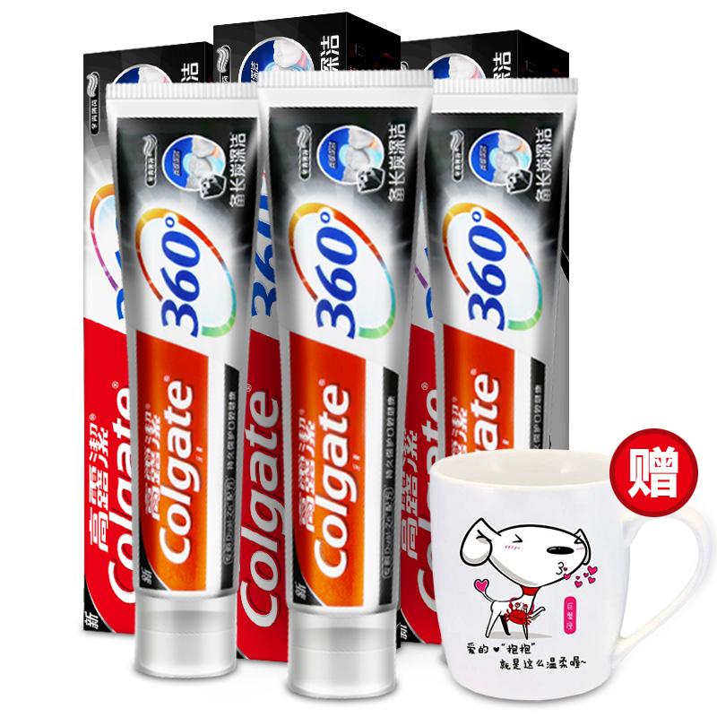 高露洁(Colgate) 360° 全面口腔健康 备长炭深洁 牙膏套装 200g×3 (随机赠送Joy杯,赠完为止)