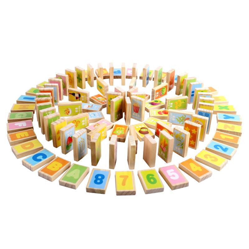 铭塔(MING TA)A8155 100片早教益智多米诺骨牌 积木拼插木制质儿童玩具益智早教智力棋牌盒装